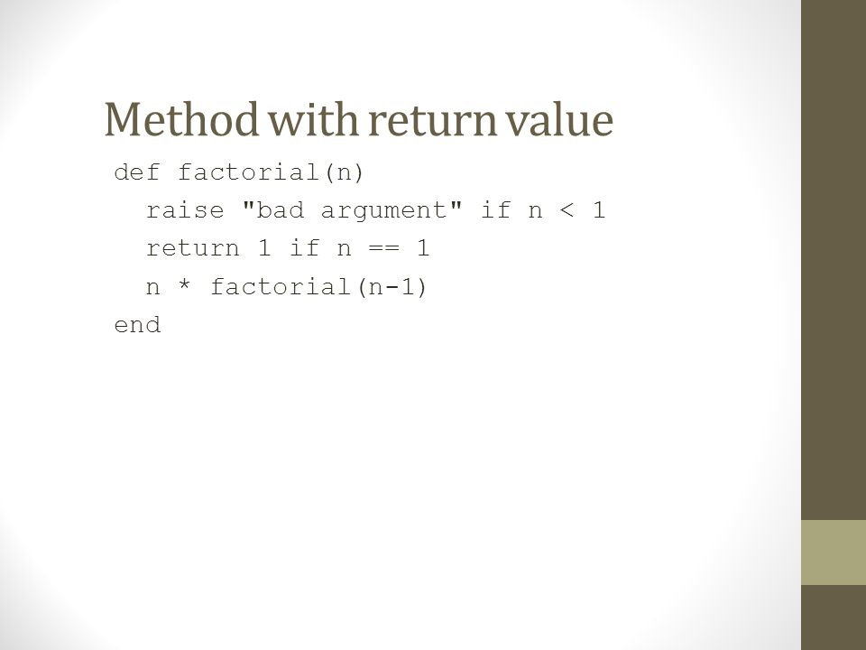 Method with return value