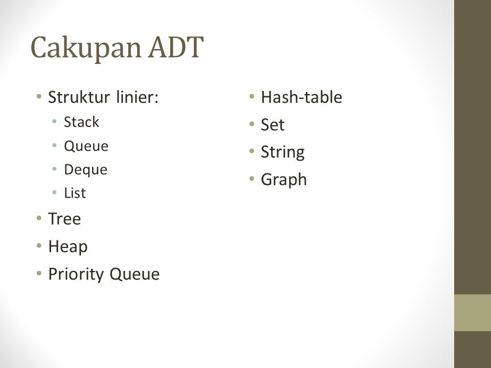 Cakupan ADT Struktur linier: Tree Heap Priority Queue Hash-table Set