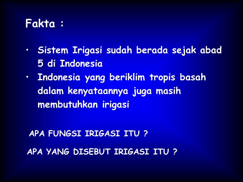 Fakta : Sistem Irigasi sudah berada sejak abad 5 di Indonesia