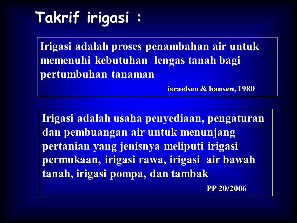 Takrif irigasi : Irigasi adalah proses penambahan air untuk