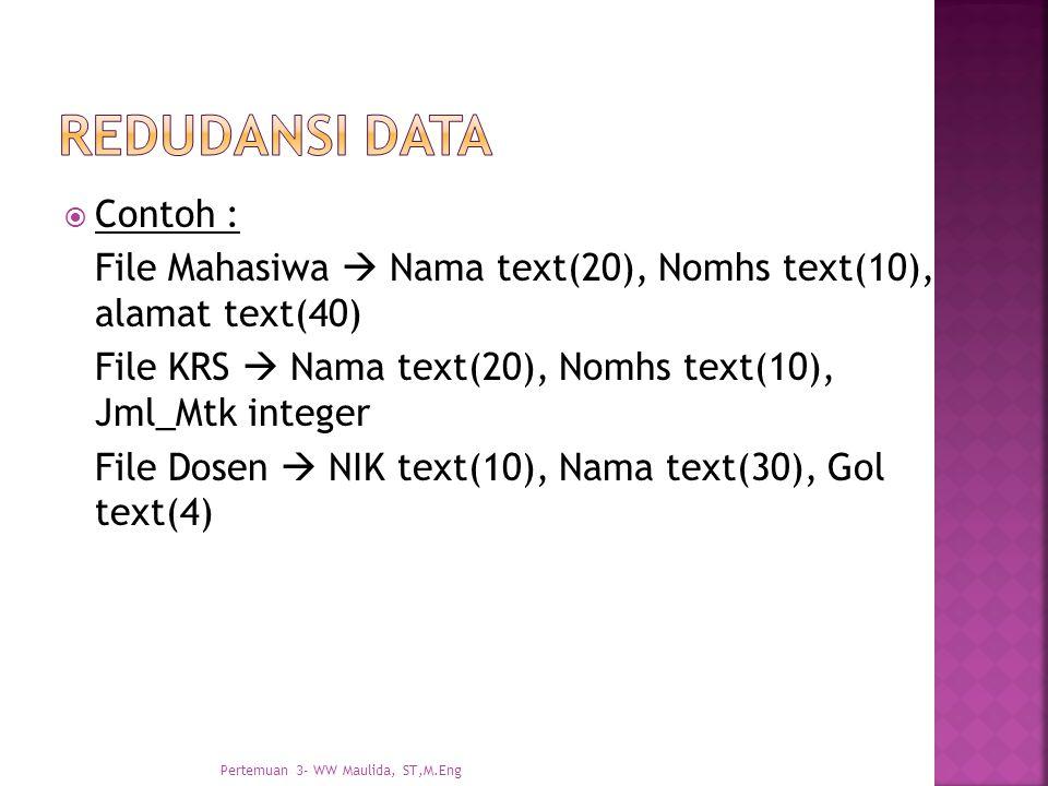 Redudansi data Contoh :