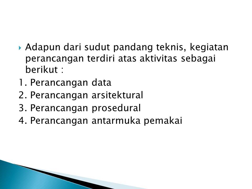Adapun dari sudut pandang teknis, kegiatan perancangan terdiri atas aktivitas sebagai berikut :