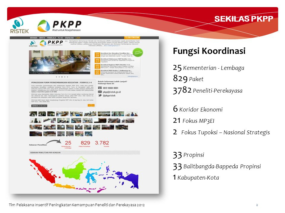 SEKILAS PKPP Tim Pelaksana Insentif Peningkatan Kemampuan Peneliti dan Perekayasa 2012