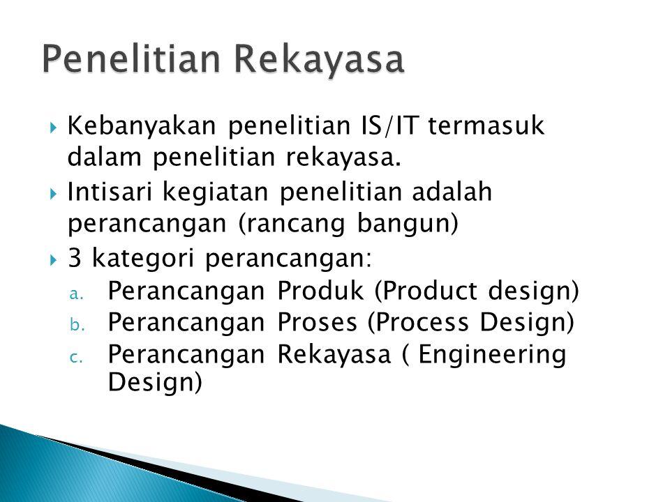 Penelitian Rekayasa Kebanyakan penelitian IS/IT termasuk dalam penelitian rekayasa.