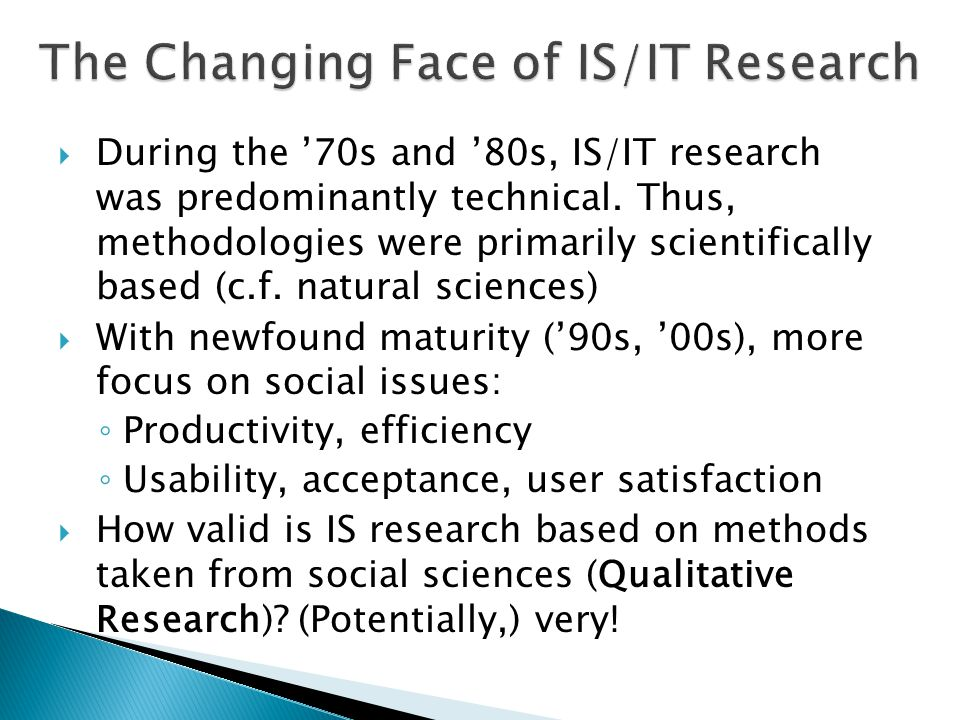 The Changing Face of IS/IT Research