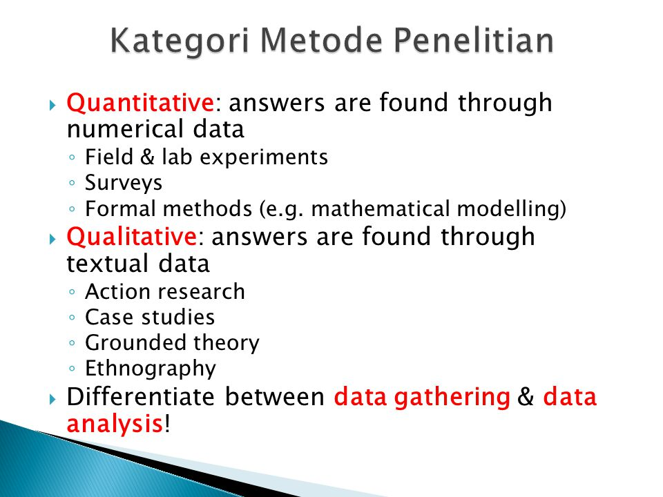 Kategori Metode Penelitian