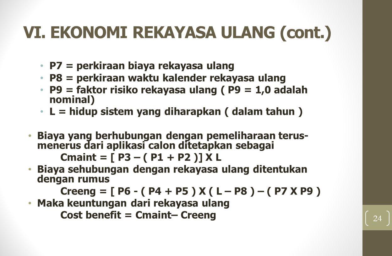VI. EKONOMI REKAYASA ULANG (cont.)
