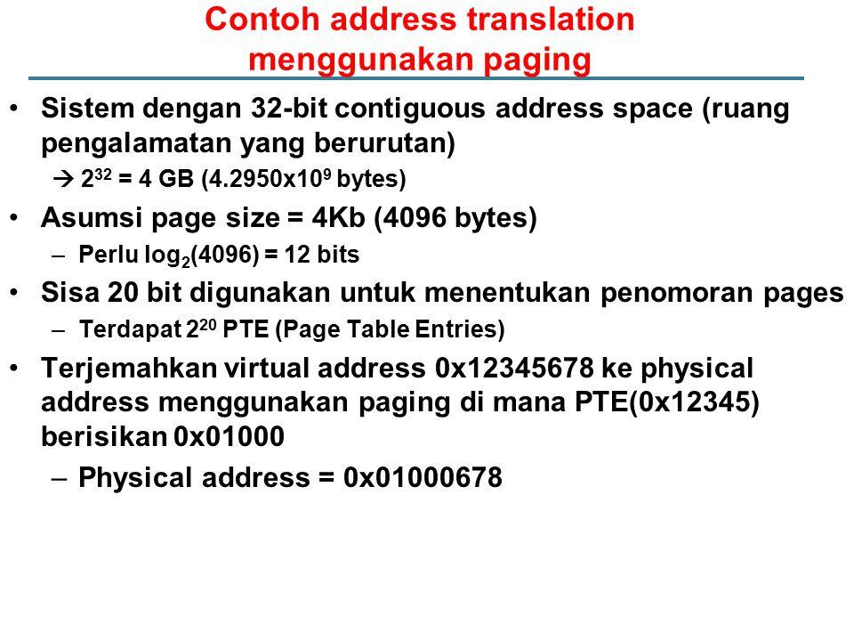 Contoh address translation menggunakan paging