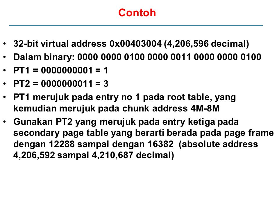 Contoh 32-bit virtual address 0x00403004 (4,206,596 decimal)