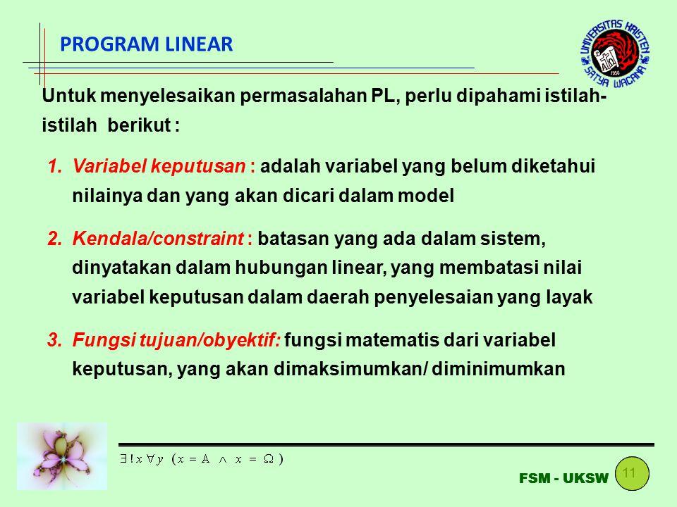 PROGRAM LINEAR Untuk menyelesaikan permasalahan PL, perlu dipahami istilah-istilah berikut :