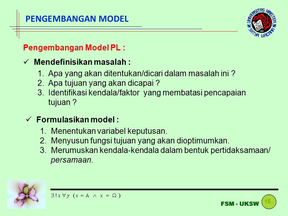 PENGEMBANGAN MODEL Pengembangan Model PL : Mendefinisikan masalah :