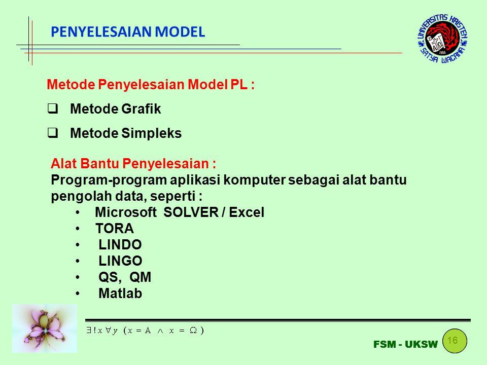 PENYELESAIAN MODEL Metode Penyelesaian Model PL : Metode Grafik