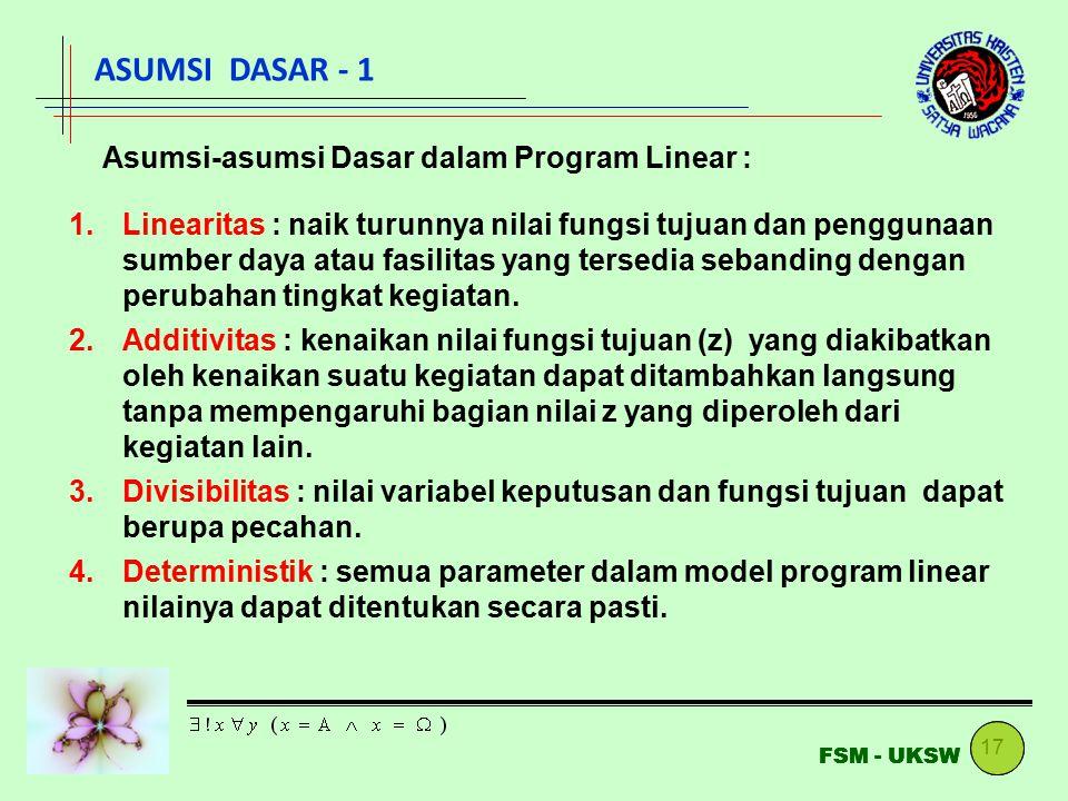 ASUMSI DASAR - 1 Asumsi-asumsi Dasar dalam Program Linear :