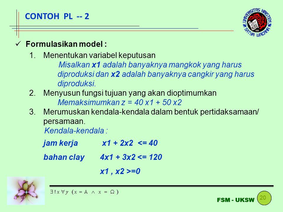 CONTOH PL -- 2 Formulasikan model : Menentukan variabel keputusan