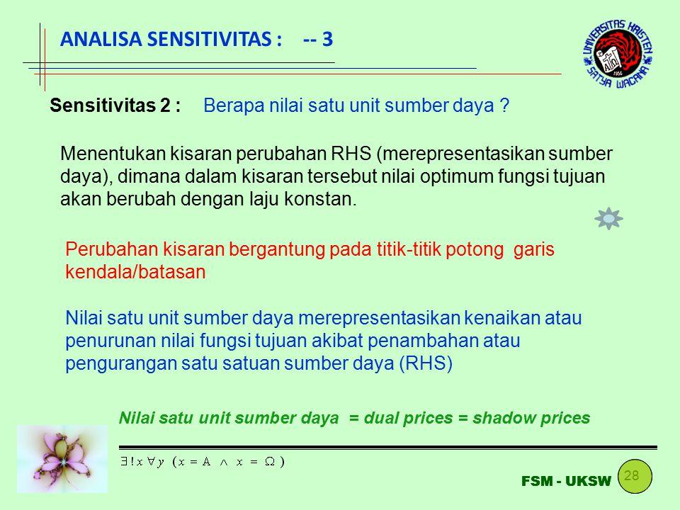ANALISA SENSITIVITAS : -- 3