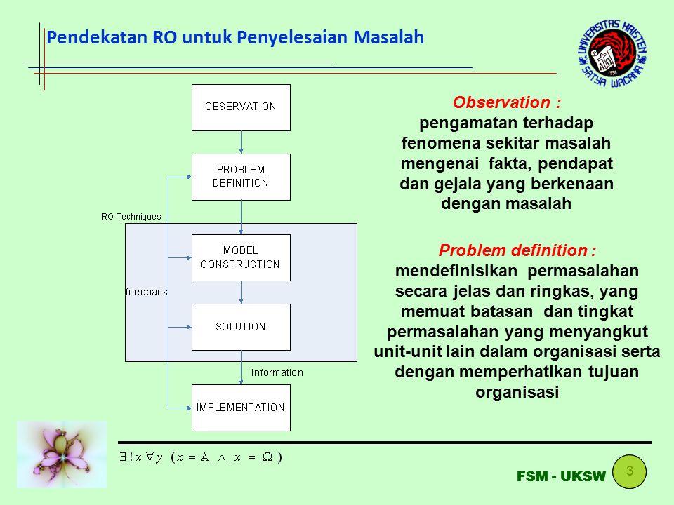Pendekatan RO untuk Penyelesaian Masalah