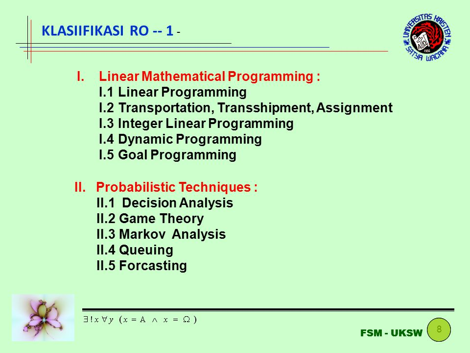 KLASIIFIKASI RO -- 1 - I. Linear Mathematical Programming :