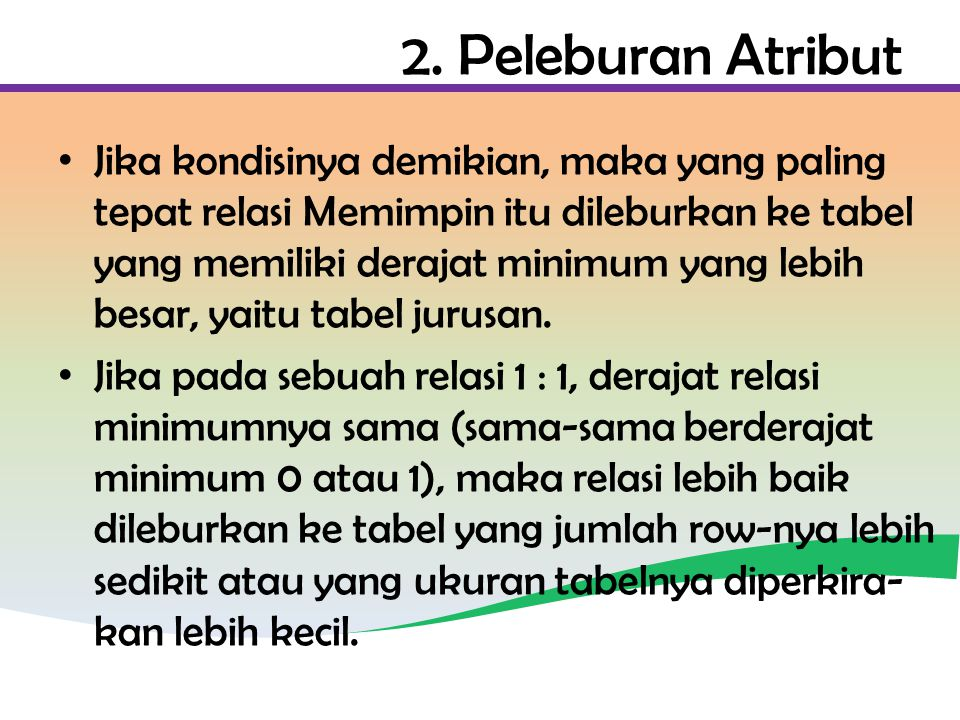 2. Peleburan Atribut