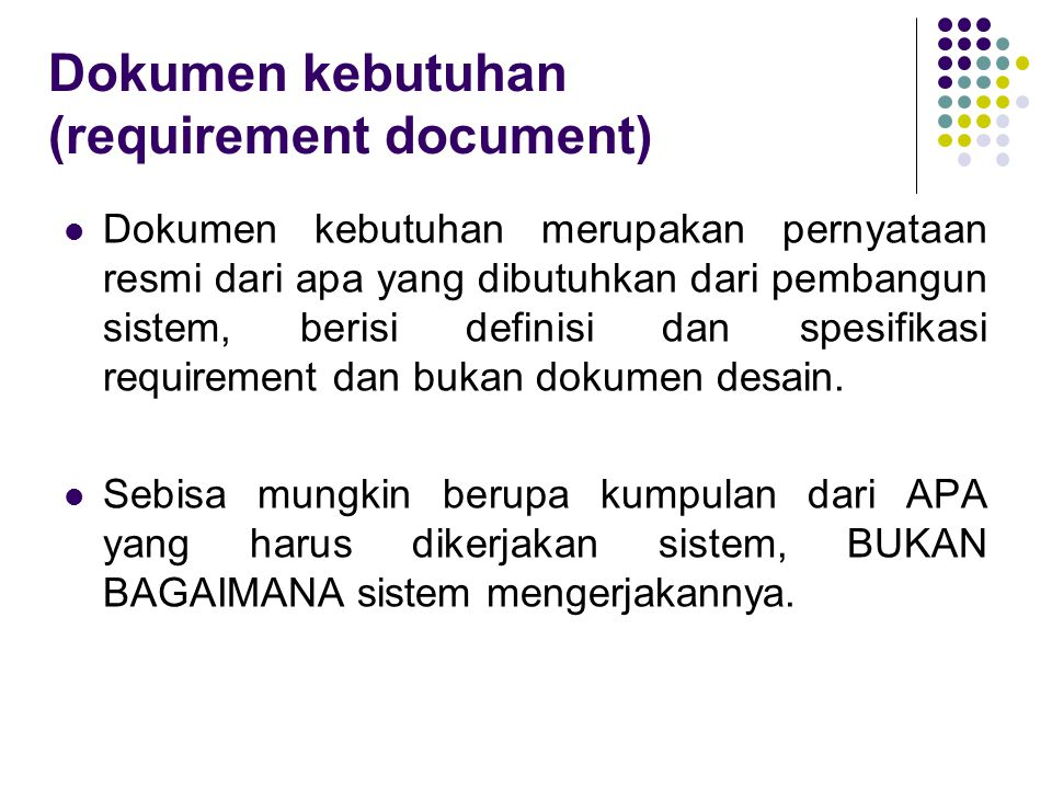 Dokumen kebutuhan (requirement document)