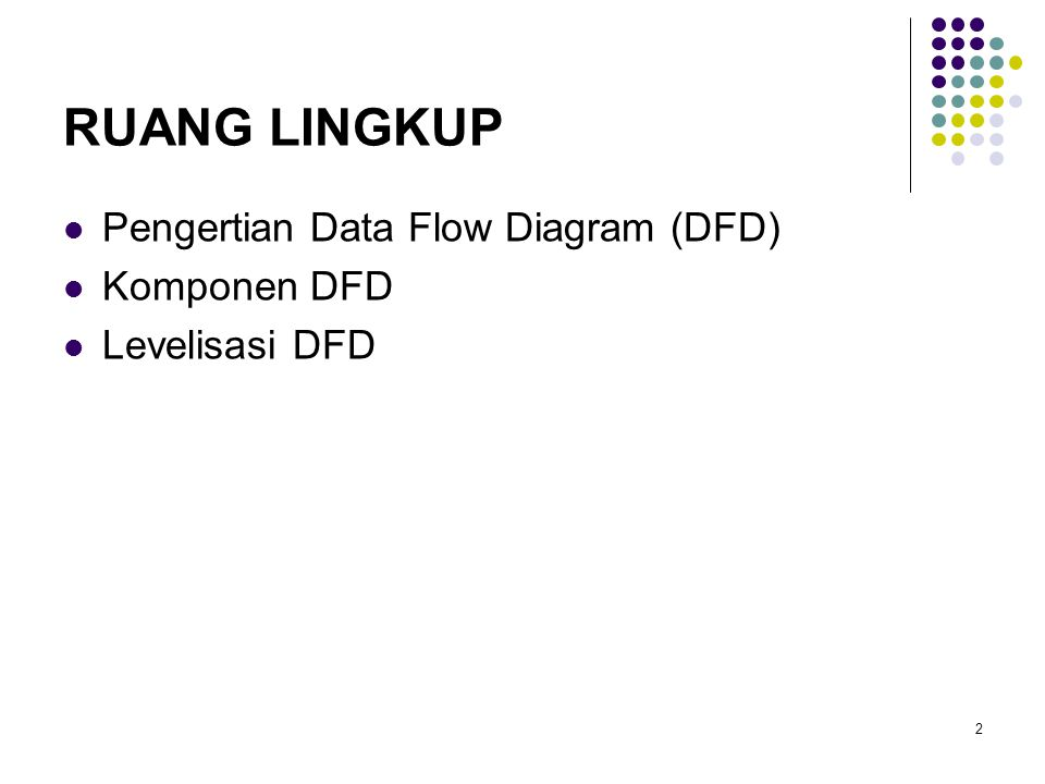 RUANG LINGKUP Pengertian Data Flow Diagram (DFD) Komponen DFD