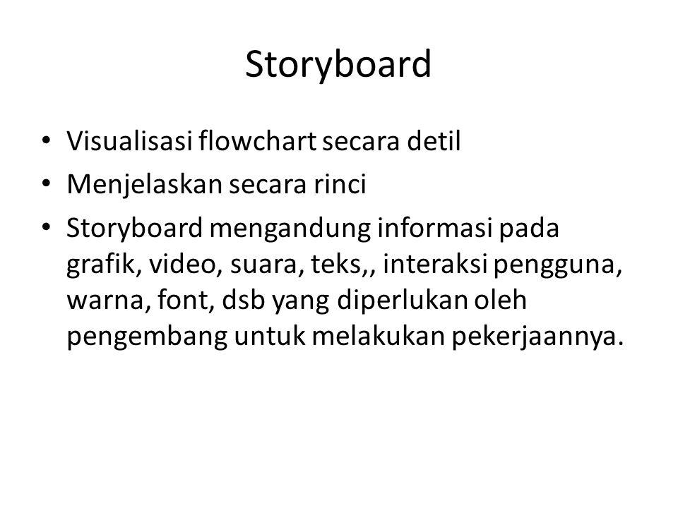 Storyboard Visualisasi flowchart secara detil Menjelaskan secara rinci