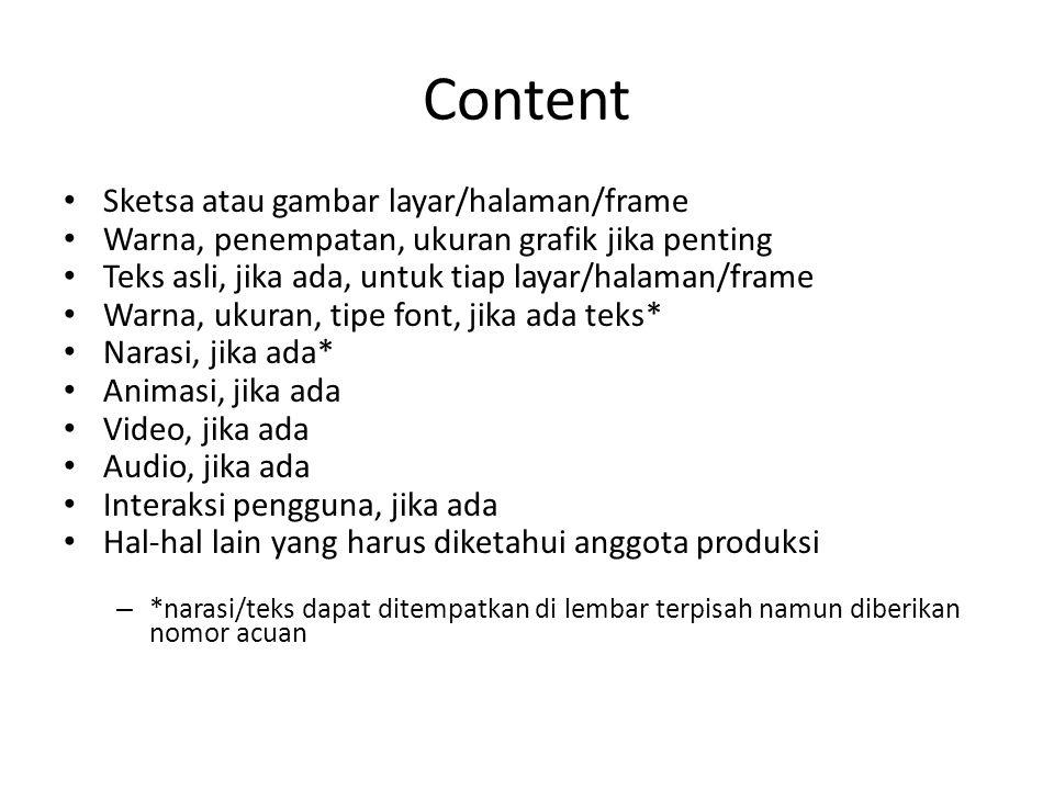 Content Sketsa atau gambar layar/halaman/frame