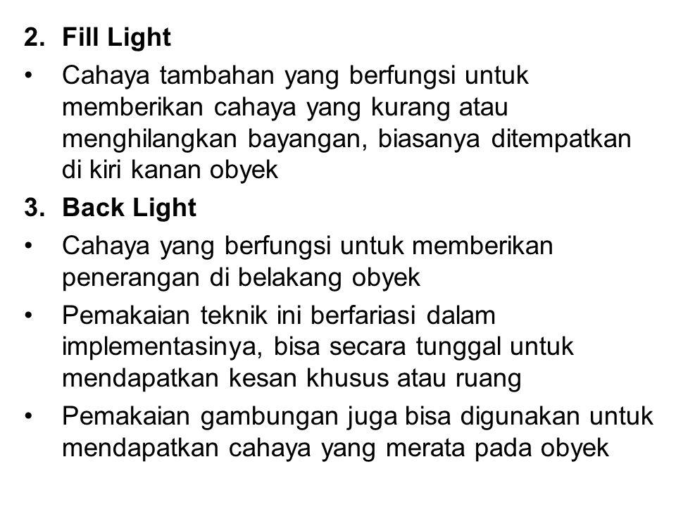 Fill Light Cahaya tambahan yang berfungsi untuk memberikan cahaya yang kurang atau menghilangkan bayangan, biasanya ditempatkan di kiri kanan obyek.
