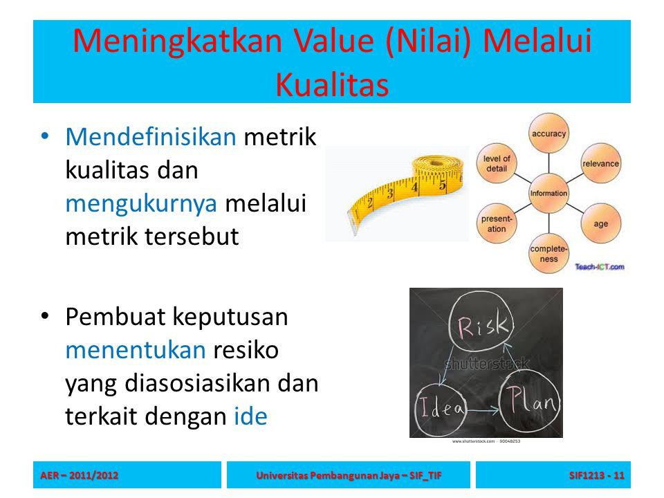 Meningkatkan Value (Nilai) Melalui Kualitas