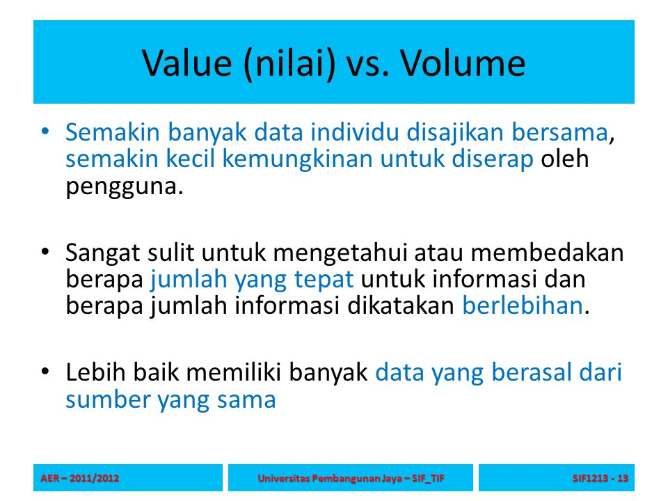 Value (nilai) vs. Volume