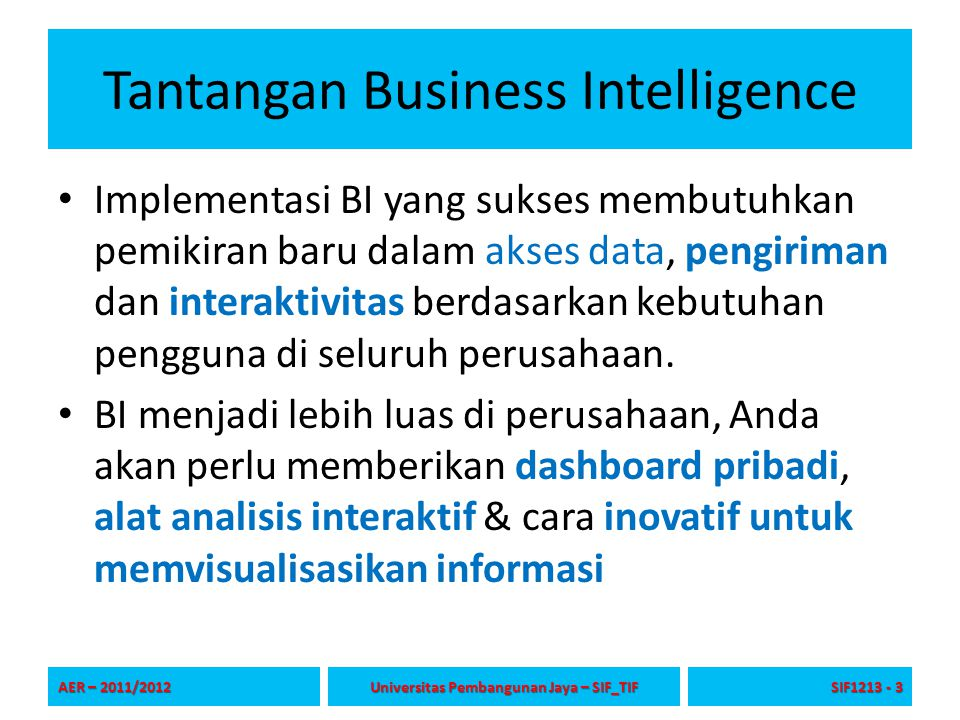 Tantangan Business Intelligence