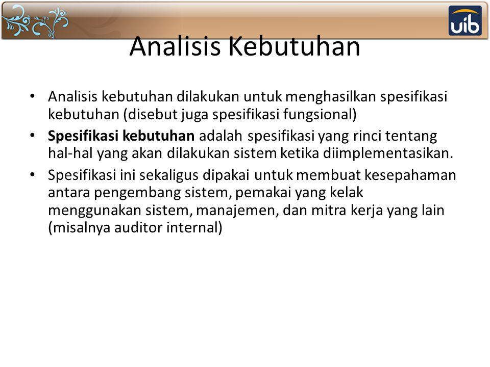 Analisis Kebutuhan Analisis kebutuhan dilakukan untuk menghasilkan spesifikasi kebutuhan (disebut juga spesifikasi fungsional)