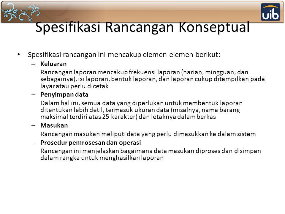 Spesifikasi Rancangan Konseptual