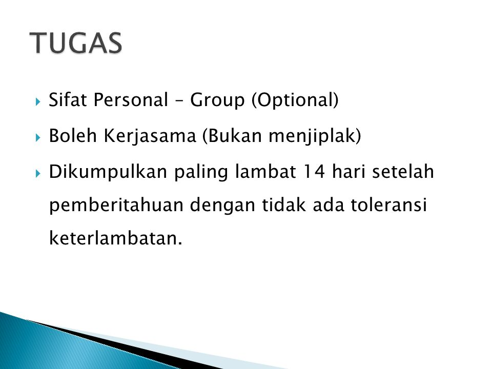 TUGAS Sifat Personal – Group (Optional)