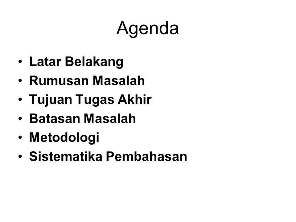 Agenda Latar Belakang Rumusan Masalah Tujuan Tugas Akhir