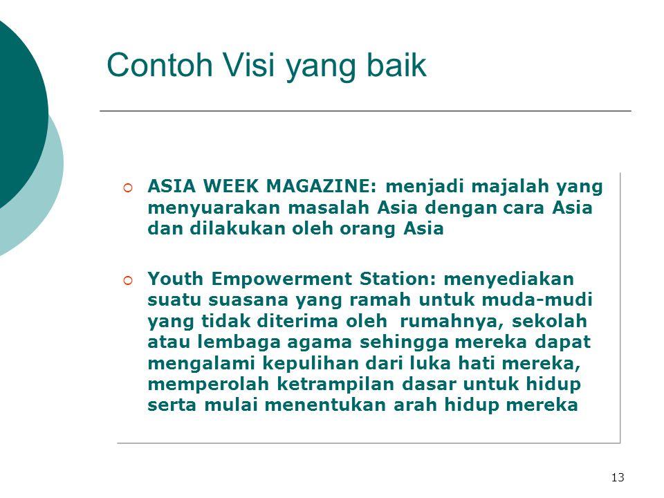 Contoh Visi yang baik ASIA WEEK MAGAZINE: menjadi majalah yang menyuarakan masalah Asia dengan cara Asia dan dilakukan oleh orang Asia.
