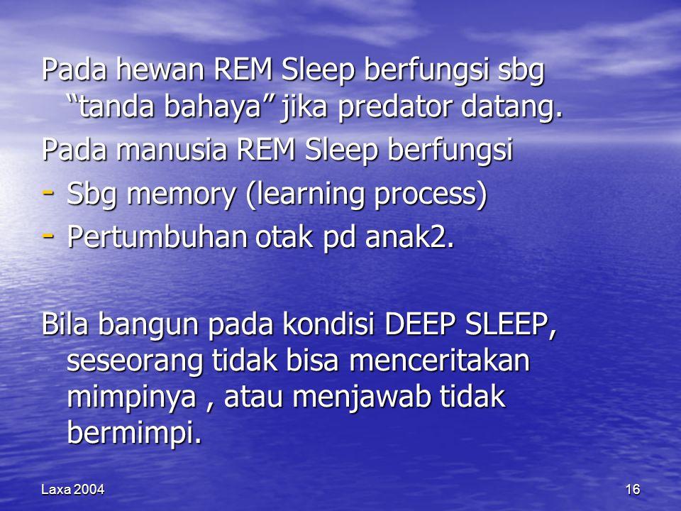 Pada manusia REM Sleep berfungsi Sbg memory (learning process)