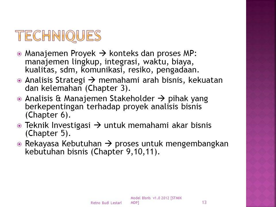 Techniques Manajemen Proyek  konteks dan proses MP: manajemen lingkup, integrasi, waktu, biaya, kualitas, sdm, komunikasi, resiko, pengadaan.