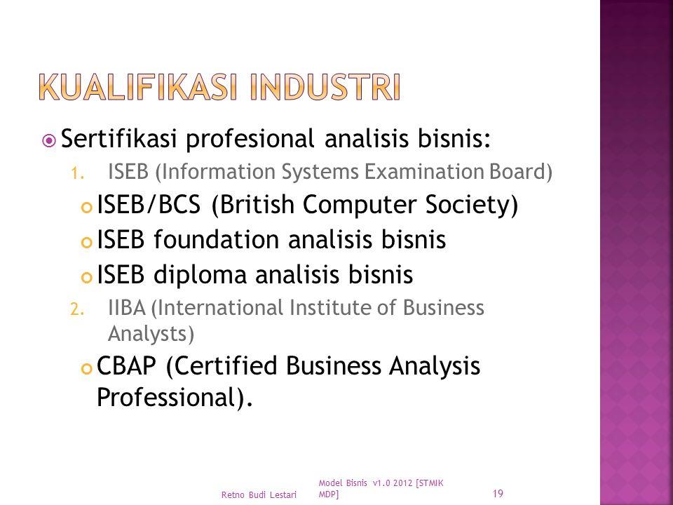 Kualifikasi Industri Sertifikasi profesional analisis bisnis: