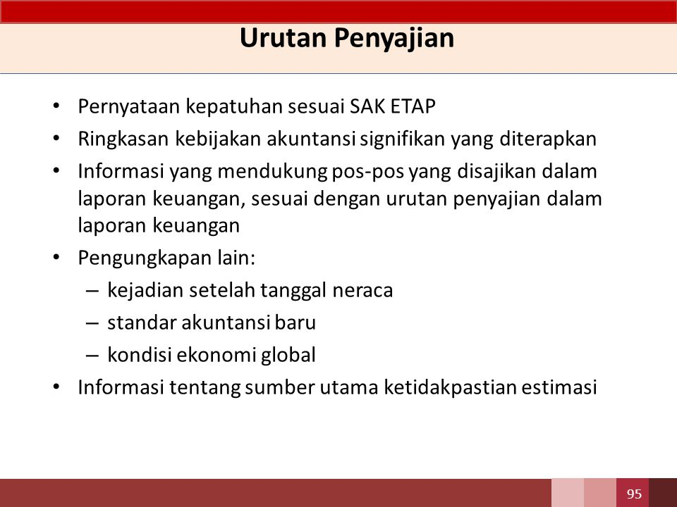 Urutan Penyajian Pernyataan kepatuhan sesuai SAK ETAP