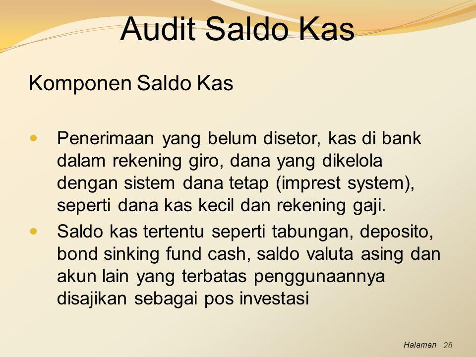 Audit Saldo Kas Komponen Saldo Kas