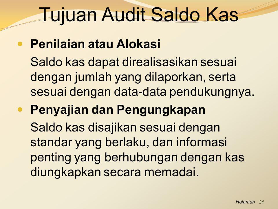 Tujuan Audit Saldo Kas Penilaian atau Alokasi