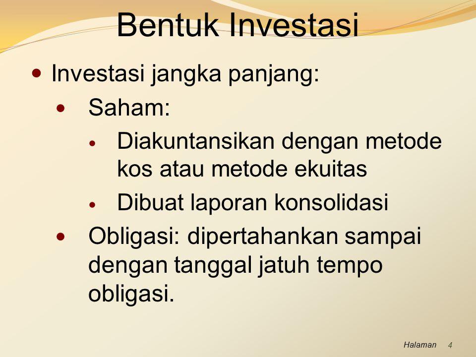 Bentuk Investasi Investasi jangka panjang: Saham: