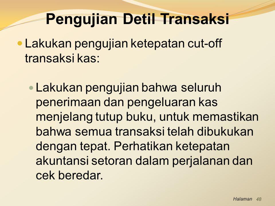 Pengujian Detil Transaksi