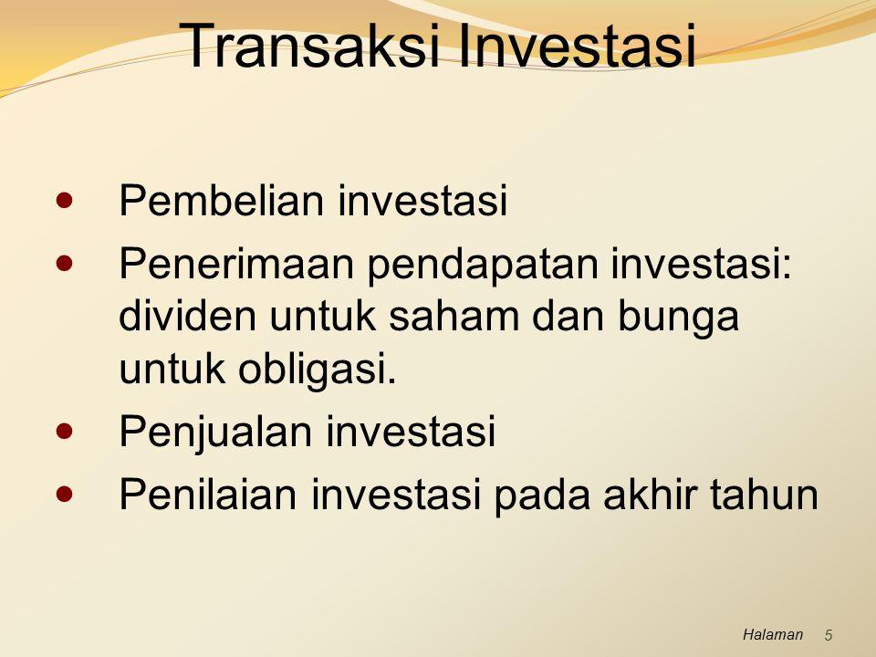 Transaksi Investasi Pembelian investasi