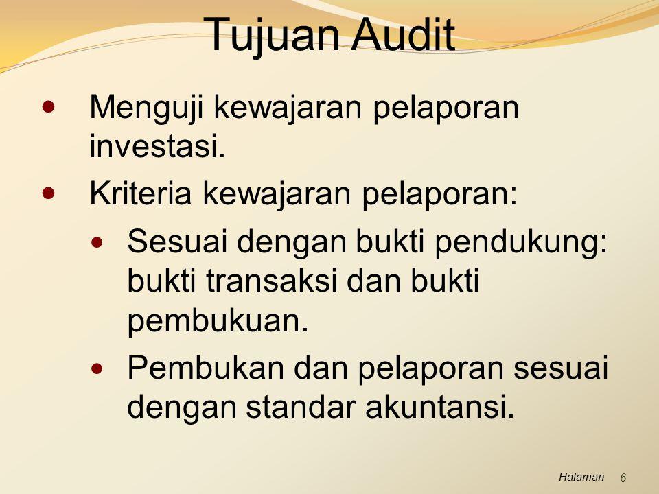 Tujuan Audit Menguji kewajaran pelaporan investasi.