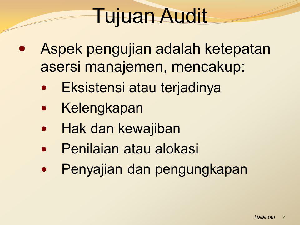 Tujuan Audit Aspek pengujian adalah ketepatan asersi manajemen, mencakup: Eksistensi atau terjadinya.