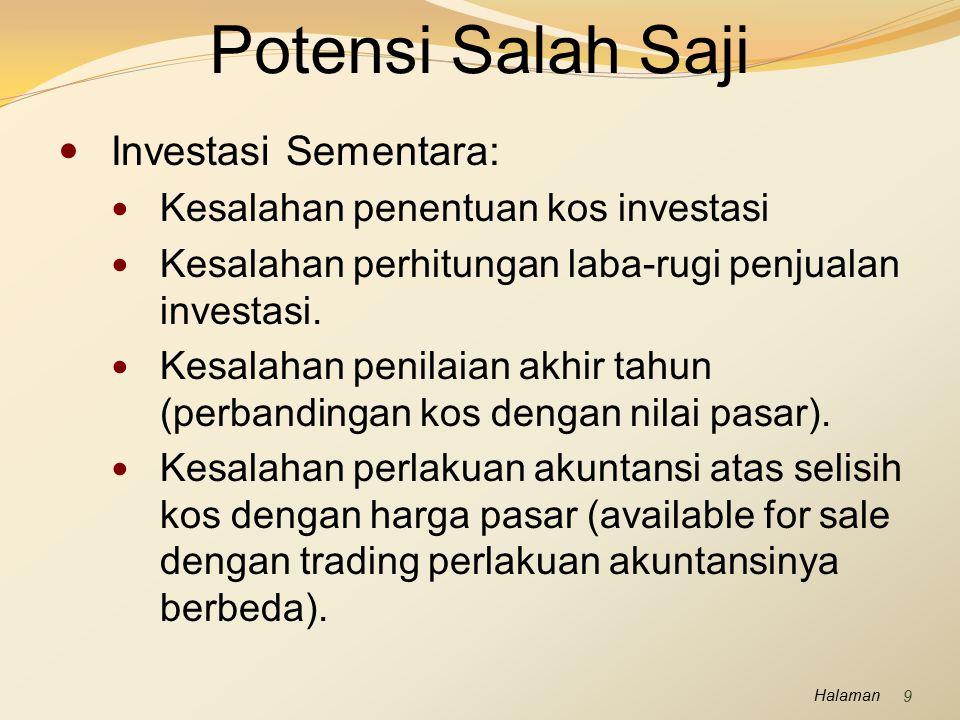 Potensi Salah Saji Investasi Sementara: