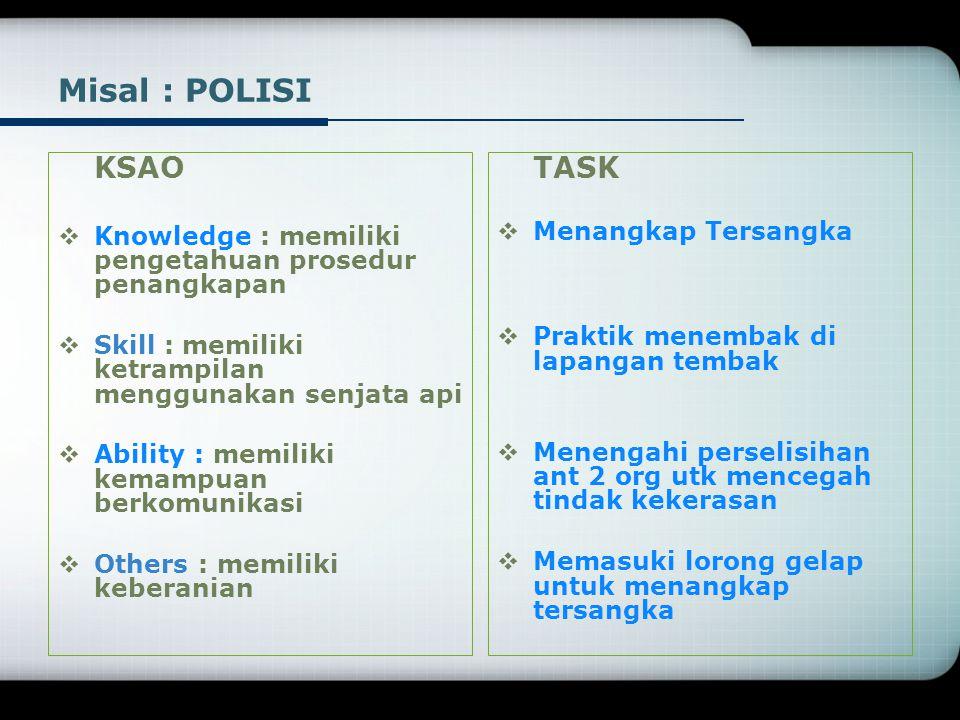 Misal : POLISI KSAO. Knowledge : memiliki pengetahuan prosedur penangkapan. Skill : memiliki ketrampilan menggunakan senjata api.