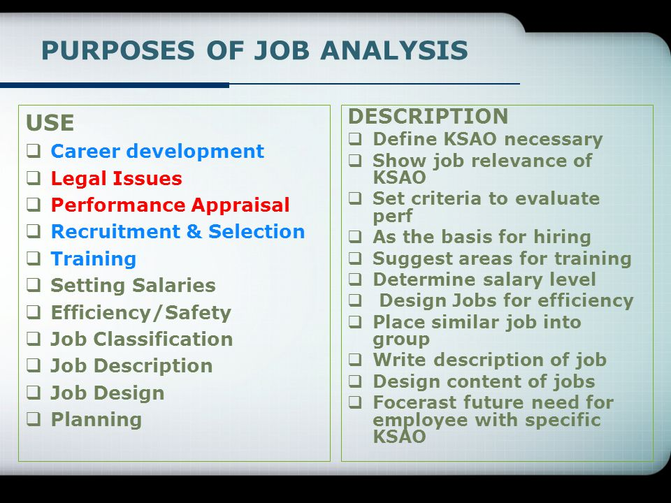 PURPOSES OF JOB ANALYSIS