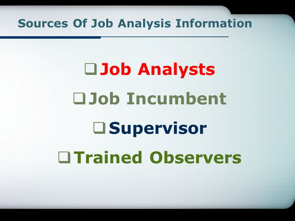 Sources Of Job Analysis Information